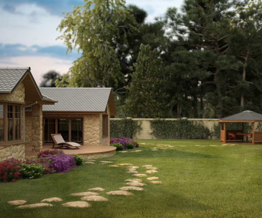 Visualiserung Haus mit Garten