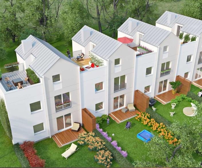 Visualisierung Reihenhaus Siedlung