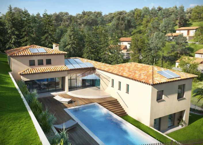 Fotorealistische Visualisierung Aussenansicht Villa mit Pool