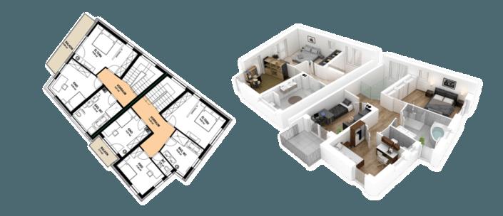 Isometrische 3D Visualisierung Stockwerk